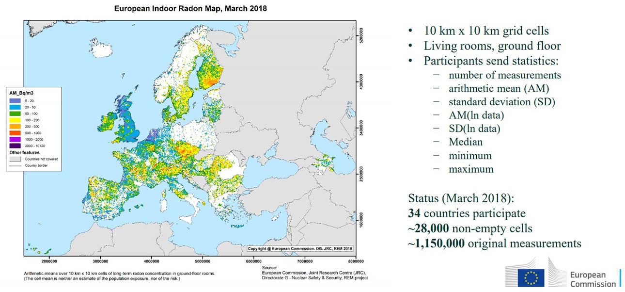 Carte des concentrations de radon en intérieur en Europe