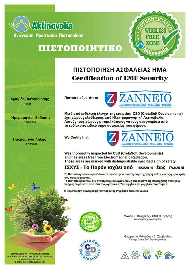 zanneio safety certification